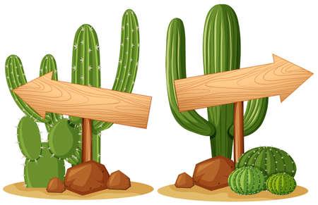Arrow signs on cactus plants illustration Illustration