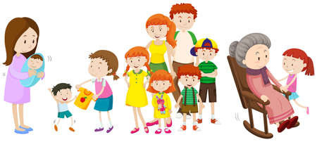 girl: People at different ages in family illustration