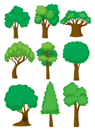 Different shapes of tree illustration