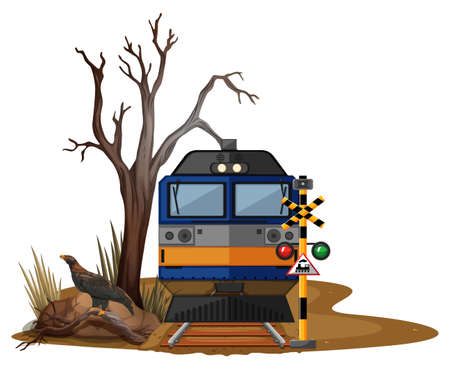 Train ride in dry desert illustration Illustration