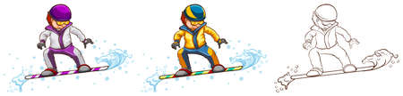 Snowboarder in three different drawing styles illustration Illustration