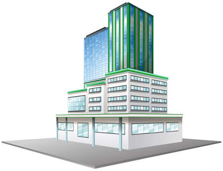 glass office: Office building with glass windows illustration