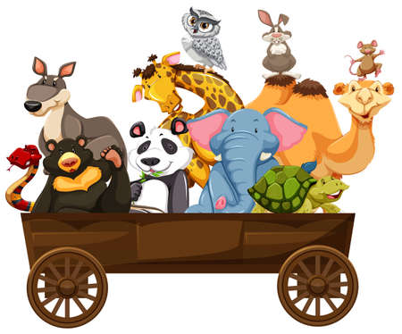 Many kinds of animals in wooden wagon illustration