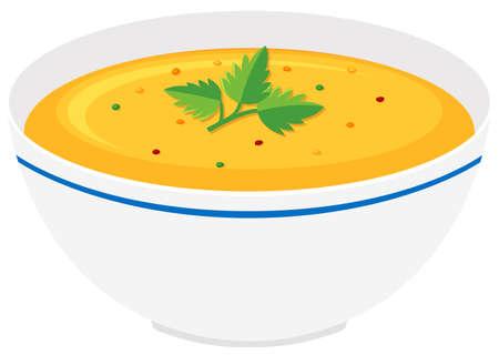 ボウル イラストでカボチャのスープ