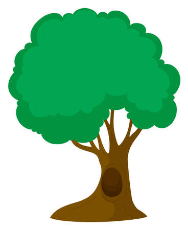 Green tree with big trunk illustration