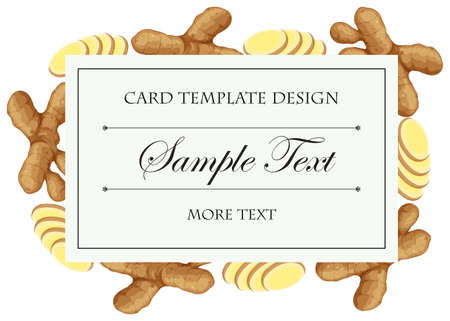 food: Card template with fresh ginger on border illustration Illustration