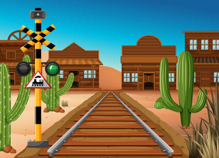 vehicle track: Train track through western town illustration