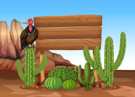 green environment: Wooden sign with cactus and vulture illustration