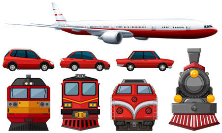 car: different types of vehicles in red color illustration Illustration