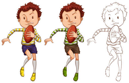 man: Man and rugby ball in three different drawing styles illustration