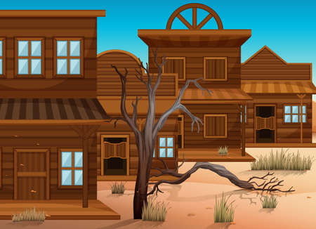 western town: Western styles of buildings in town illustration