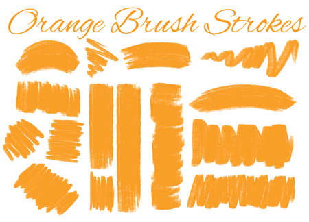 Different styles of brush strokes in orange color illustration