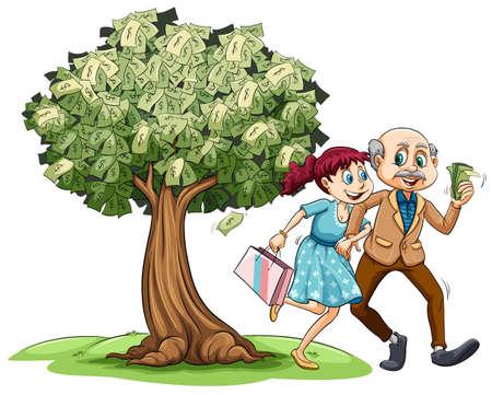 Love couple and money on tree illustration