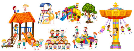 Happy kids playing at the playground illustration