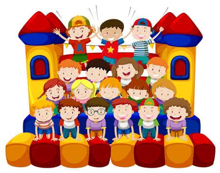 girl: Many kids sitting on bounching house illustration Illustration