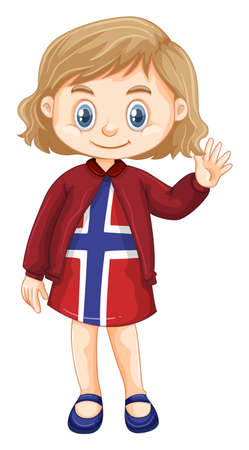 Little girl wearing clothes with Norway design illustration