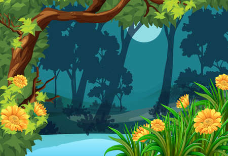 green environment: Forest scene with flowers and moon illustration