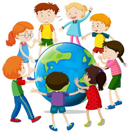 young boy smiling: Happy children around the world illustration