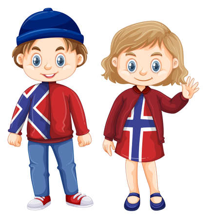 Norwagian boy and girl in dress with Norway flag illustration