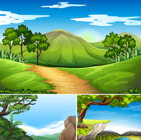 rural road: Three scenes with mountains at daytime illustration Illustration