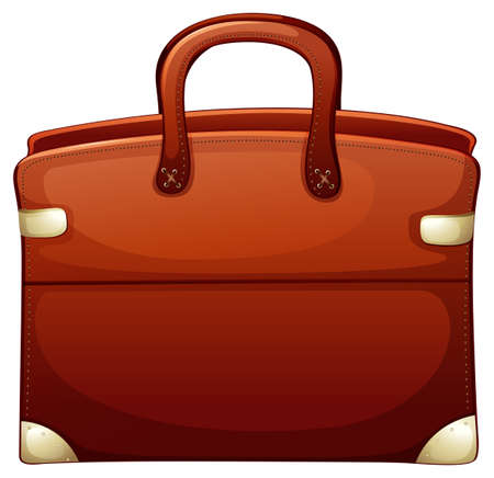Brown briefcase on white background illustration Illustration
