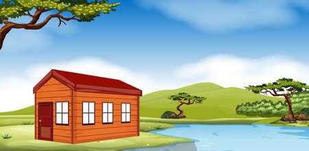 Houten huisje door de vijver illustratie