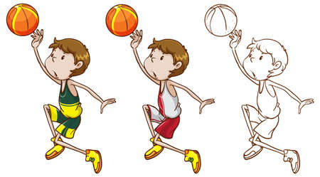 Drafting character for basketball player dunking illustration Illustration