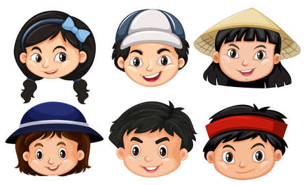 asian student: Different faces of asain kids illustration