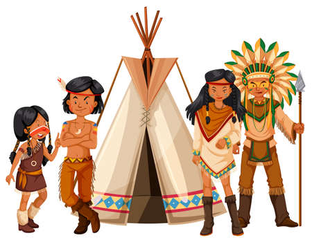 indian teenager: Native american indians standing by the teepee illustration Illustration