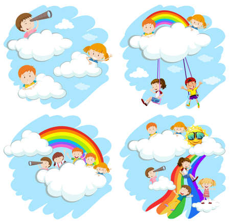 Happy children on fluffy clouds and rainbow illustration