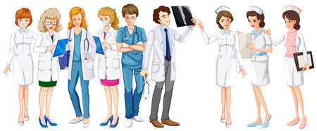 white work: Male and female doctors and nurses illustration Illustration