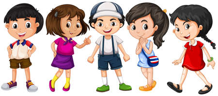 asian student: Many children with big smile illustration