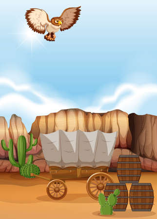 Owl flying over the wagon in desert illustration