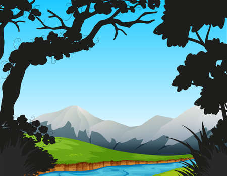 Forest scene with river and mountains illustration