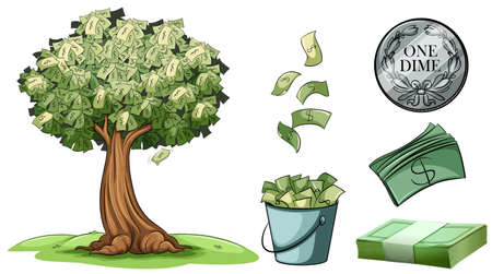 Money grows on tree and different types of money illustration