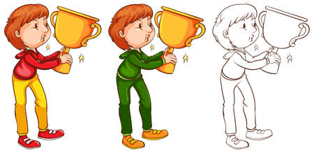 Man kissing trophy in three sketches illustration