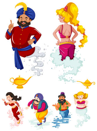 Different characters of ginnies and the lamp illustration