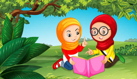 Two muslim girls reading book in park illustration