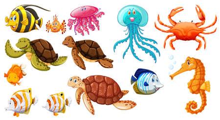 Different kinds of sea animals illustration