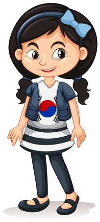Girl from South Korea standing illustration