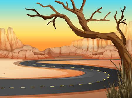 Road trip to western land illustration Illustration