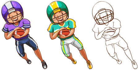 Doodle character for american football player illustration