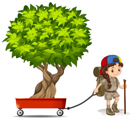 Girl pulling wagon with green tree illustration