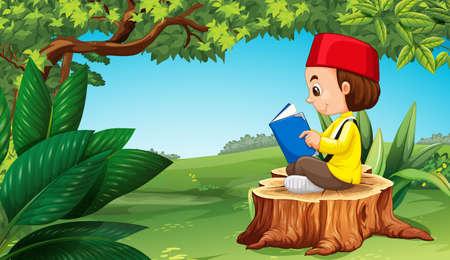 Muslim boy reading book in park illustration Illustration
