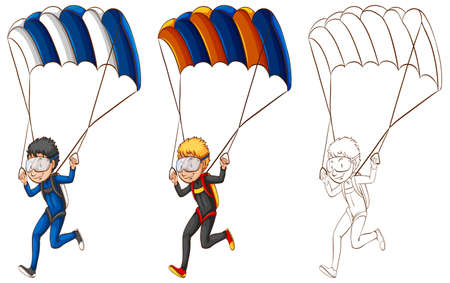 Drafting character for man doing parachute illustration Illustration