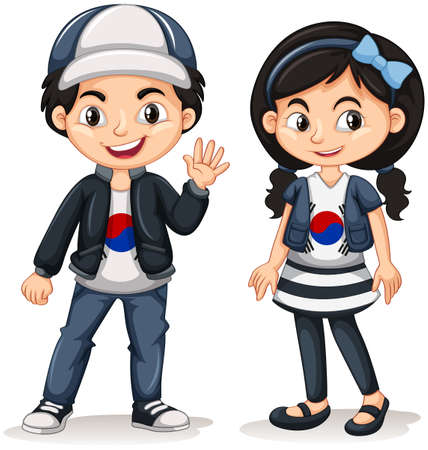 South Korean boy and girl  illustration Illustration