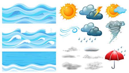 wave: Different symbols of weather illustration