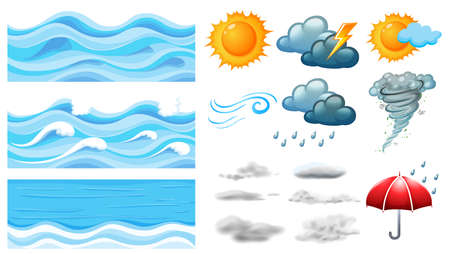 Different symbols of weather illustration