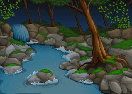 waterfall in forest: Forest scene with waterfall and trees at night illustration