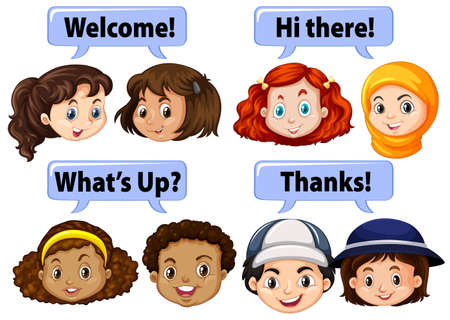 Children saying polite words illustration